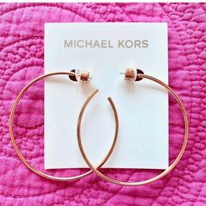 NWT MICHAEL KORS Rose Gold Large Hoop Earrings